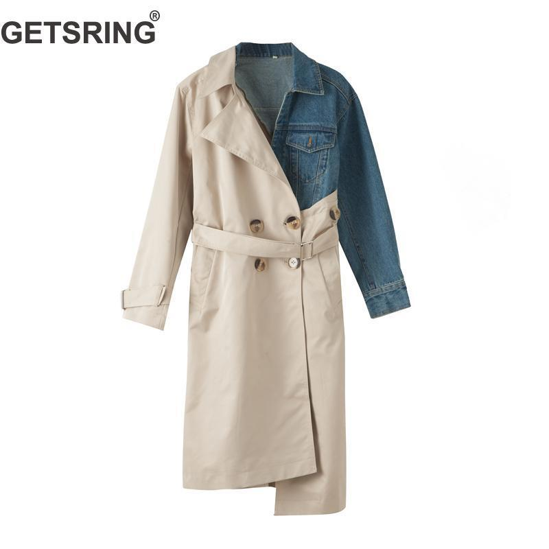 3d9b14a3b58 2019 GETSRING Women S Trench Coats Denim Spliced Cotton Windbreakers Single  Breasted Long Sleeve Lace Up Irregular Long Coat Autumn Y18111301 From ...
