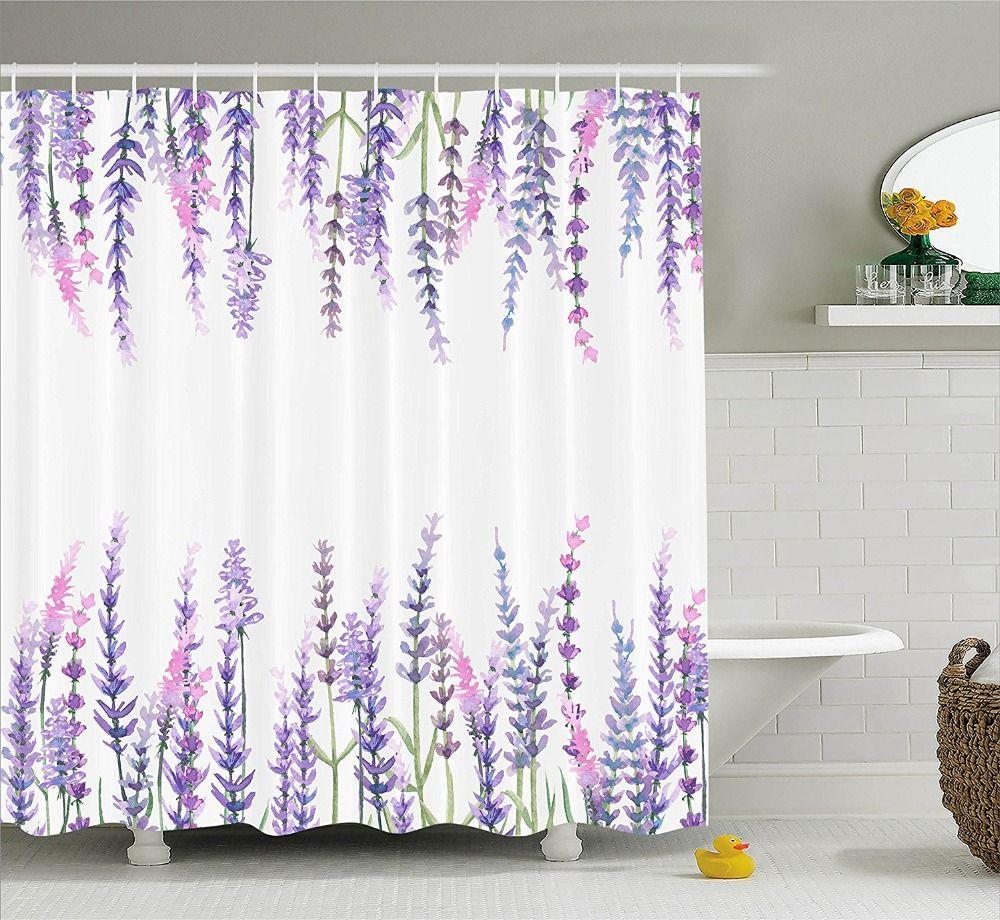 2018 Shower Curtain Purple Flower Lavender Plants Aromatic Evergreen ...