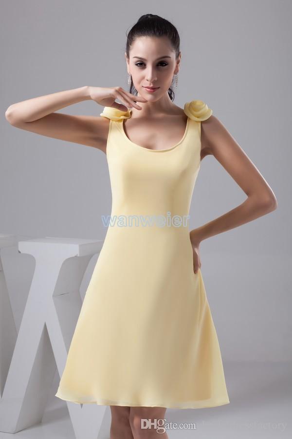 fashion 2018 new design formales brides maid dress handmade flowers Custom size/color short yellow evening dresses