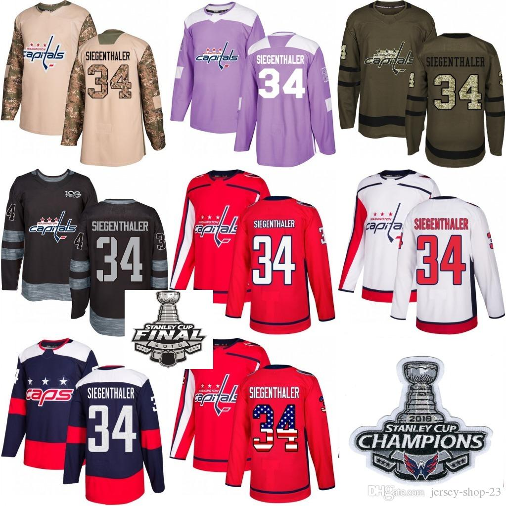 san francisco f337e f618d 2018 Washington Capitals Stanley Cup Final patch champion patch #34 Jonas  Siegenthaler Red White USA Flag Fashion Purple Hockey Jerseys