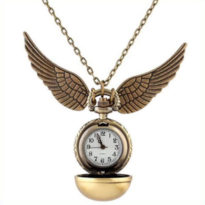 Shellhard 1pc Retro Elegant Harry Potter Snitch Pocket Watch Quidditch  Wings Pendant Necklace Clock Ball Pocket Watch 2 Colors
