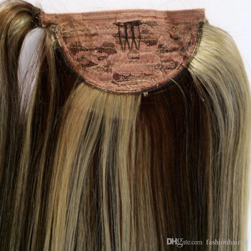 4/613 Highlight Virgin Indian Clip In Human Hair Ponytail 100g 18 inch Straight Remy Hair Extensions