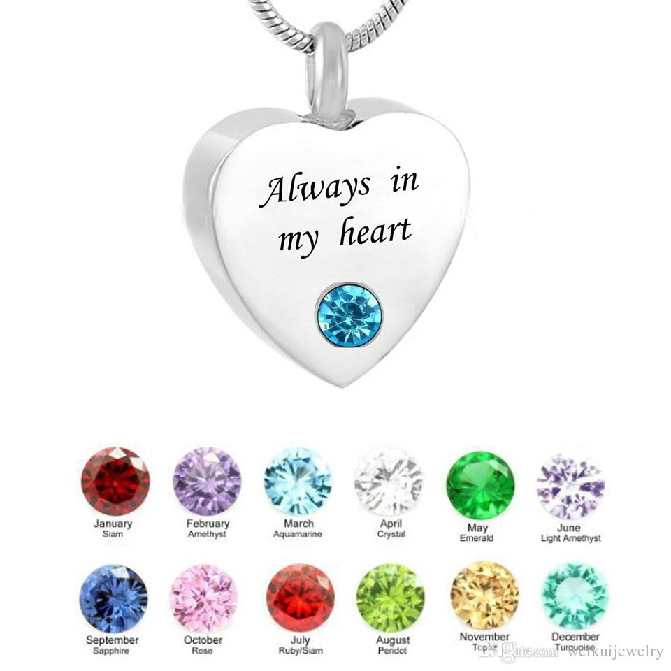 Personalized Heart/Cross Necklace Birthstone Name Pendant Cremation Urn Necklace Custom Jewelry