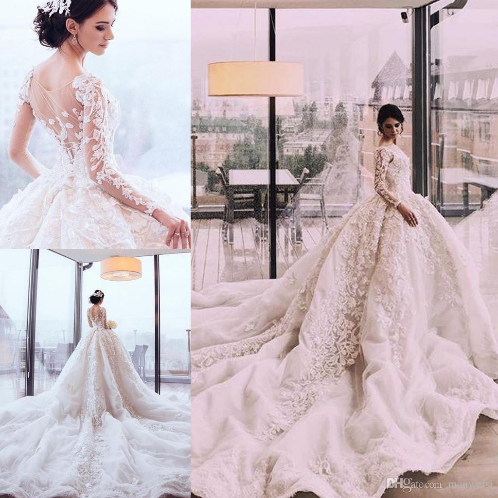 2019 Perles De Luxe Perlé Dentelle De Bal Robes De Mariage De Robe Arabie Princesse Royal Cathédrale Train à Manches Longues Robe De Mariée