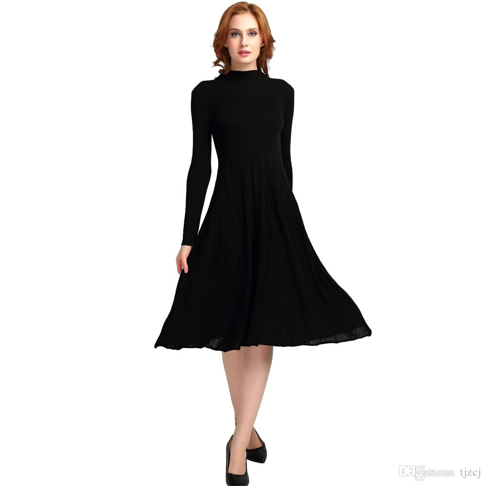 2018 Autumn Elastic Midi Dress For Women Black Long Sleeve Slim Sweater  Dresses Fashion Casual Female Big Ruffle Hem Ruched Knitted Dress Casual  Cocktail ... f58c22005