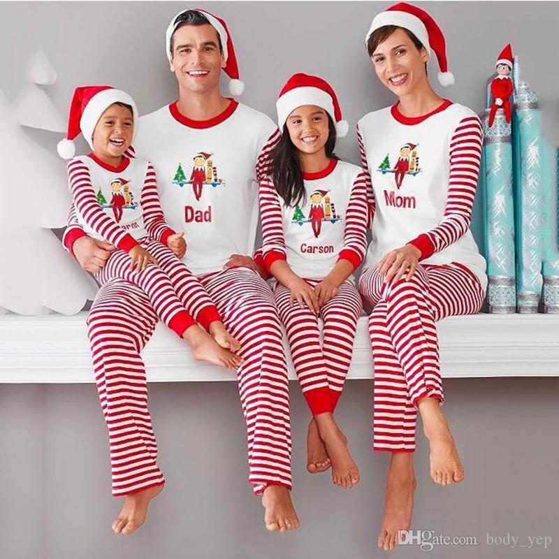 2401d75809 2019 Christmas Family Outfit Kids Women Men Sleepwear Xmas Pajamas Set  Striped Cotton Pyjamas Outfits Family Matching PJS From Body yep