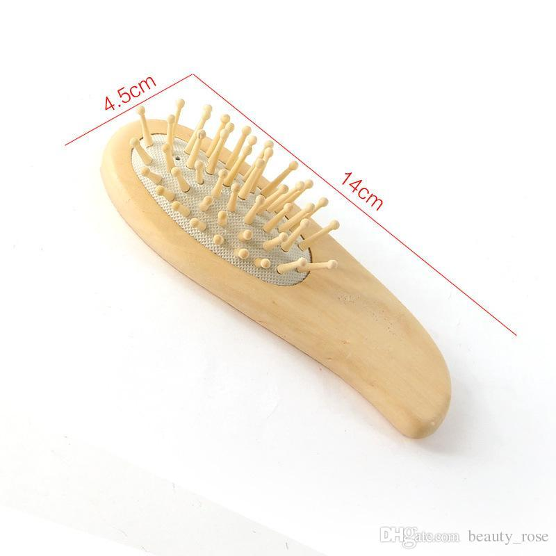 Hair Straightener Brush Wood Pointed Handle Steel Teeth Massage Hair Brush Head Care Comb Relaxing Wooden Hair Comb DHL Free