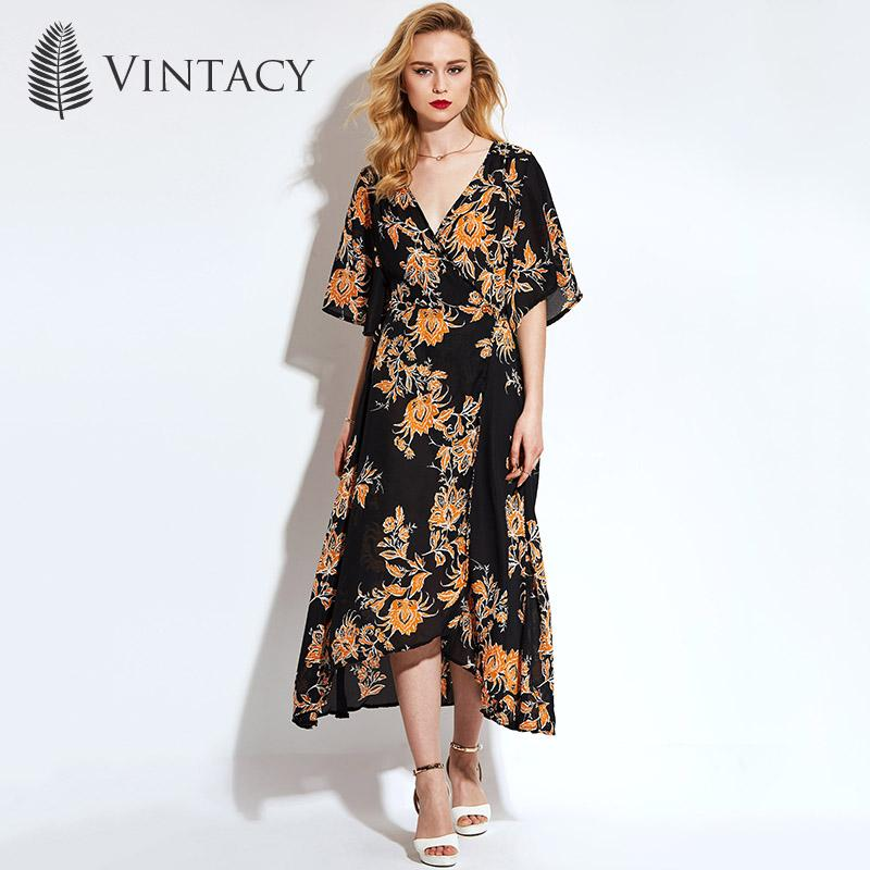 f0a91bff74eb4 2019 Women Black Floral Print Dress V Neck Half Sleeve Casual Loose ...