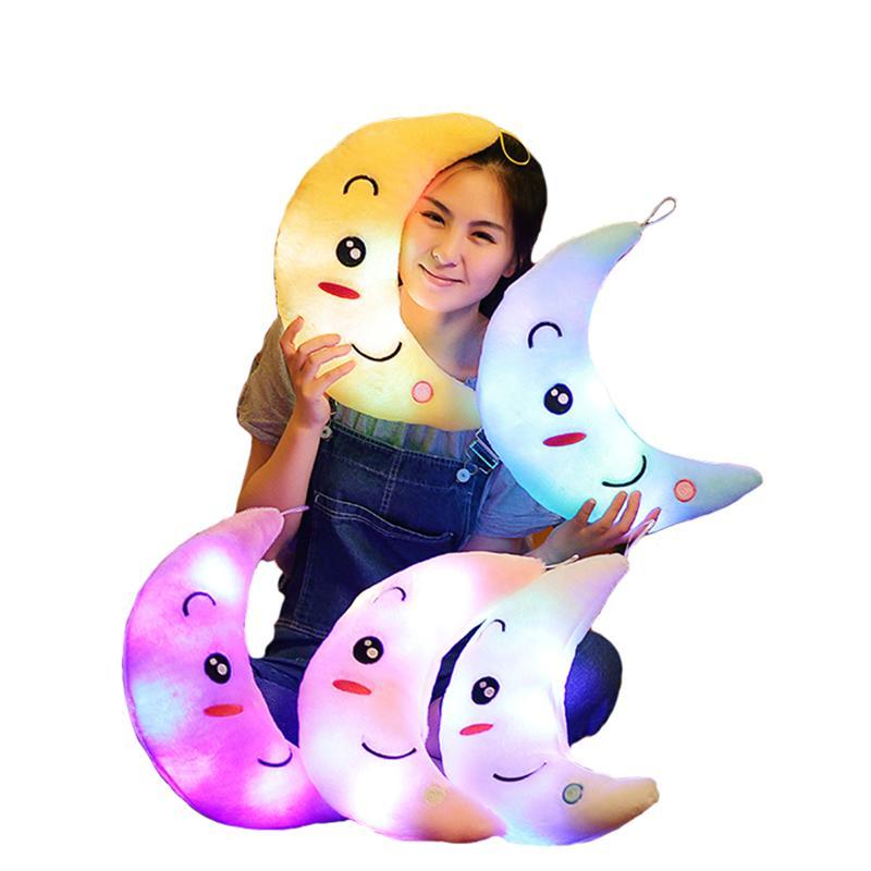 Stuffed & Plush Animals Professional Sale New Colorful Flashing Moon Plush Toys Sleep Luminous Led Light Cushion Pillow Doll Birthday Gifts For Kids Yyt219