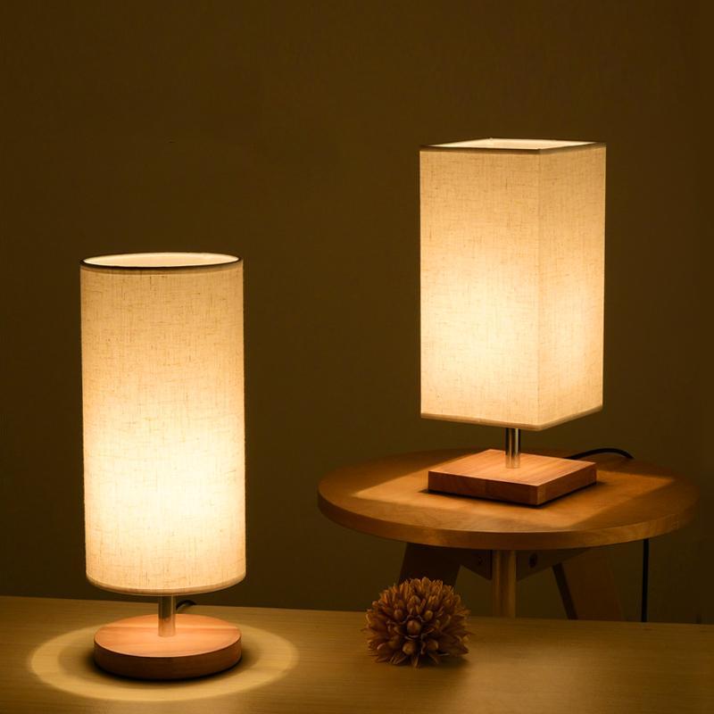 Led Wood Table Lamp Round Square Wood Fabric Modern Desk Lamp E27