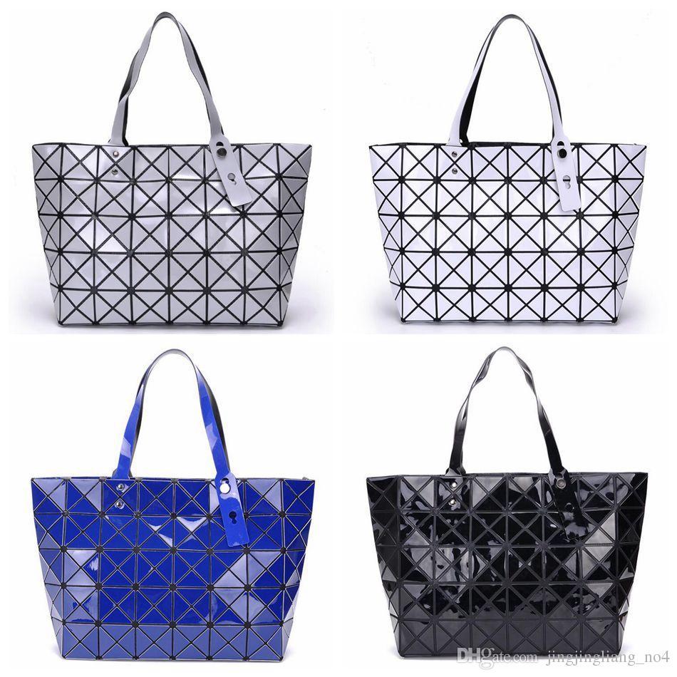 5f0fb647ee96 Women Tote Fold Geometic Handbag Laser Geometric Hand Bags Sequins Mirror  Saser Plain Folding Handbags Shoulder Bags LJJO4540