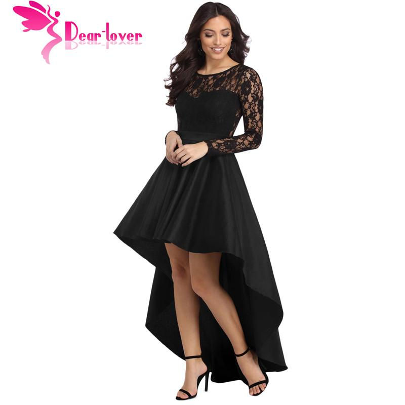 Dear Lover Party Gowns Formal Dress Women Autumn Black Long Sleeve Lace  High Low Satin Dress Robe Vestido De Festa Longo LC61910 Plus Size Cocktail  Dress ... 2cb6828ca925