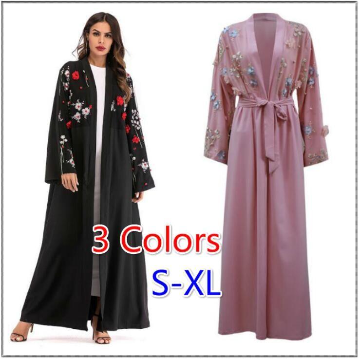 31689d7db3 Compre Mulheres Abaya Dubai Kaftan Árabe Longo Floral Kimono Cardigan Hijab  Vestido Elbise Turca Mubarak Islâmico Roupas 3 Cores De Heyan0117