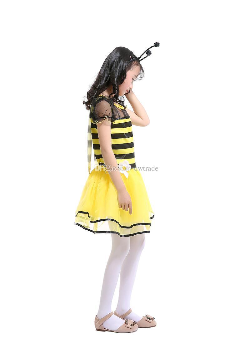 Nuovi vestiti Cosplay bambini Le ragazze Yellow Bees 'Principessa Al ginocchio Abiti Bee Fairy Vestiti Costume di Halloween Abiti da spettacolo