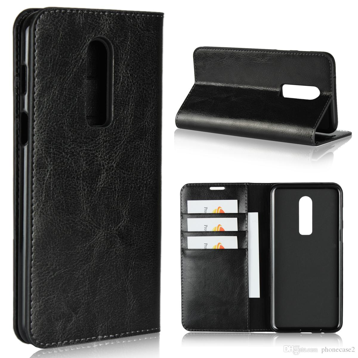 wholesale dealer cfa26 abeb4 for oneplus 6 case handmade genuine leather Luxury flip cover Wallet  Kickstand Card Slot DNGN protective oneplus6 phone shell