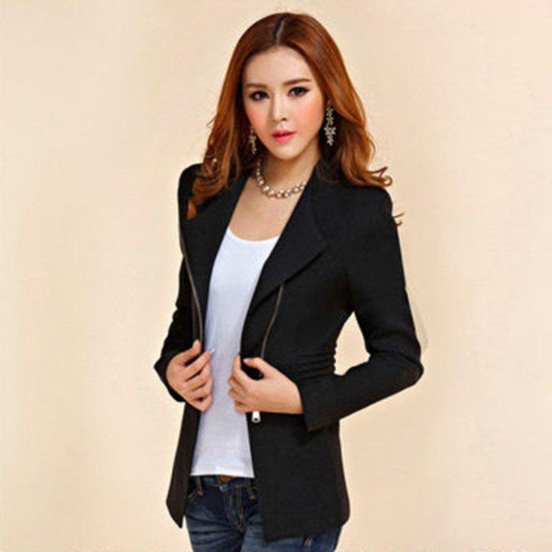 Compre Manga Longa Zipper Terno Mulheres Casaco Sólido Terno Jaqueta Blazer  Tops H34 De Superwonderland e2e6e5136c4
