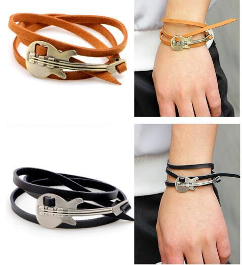 Multilayer Men Punk Retro guitar design Vintage black Brown Cuff Bangle Genuine Leather Wrap Bracelet Charm for women Wristband Jewelry gift