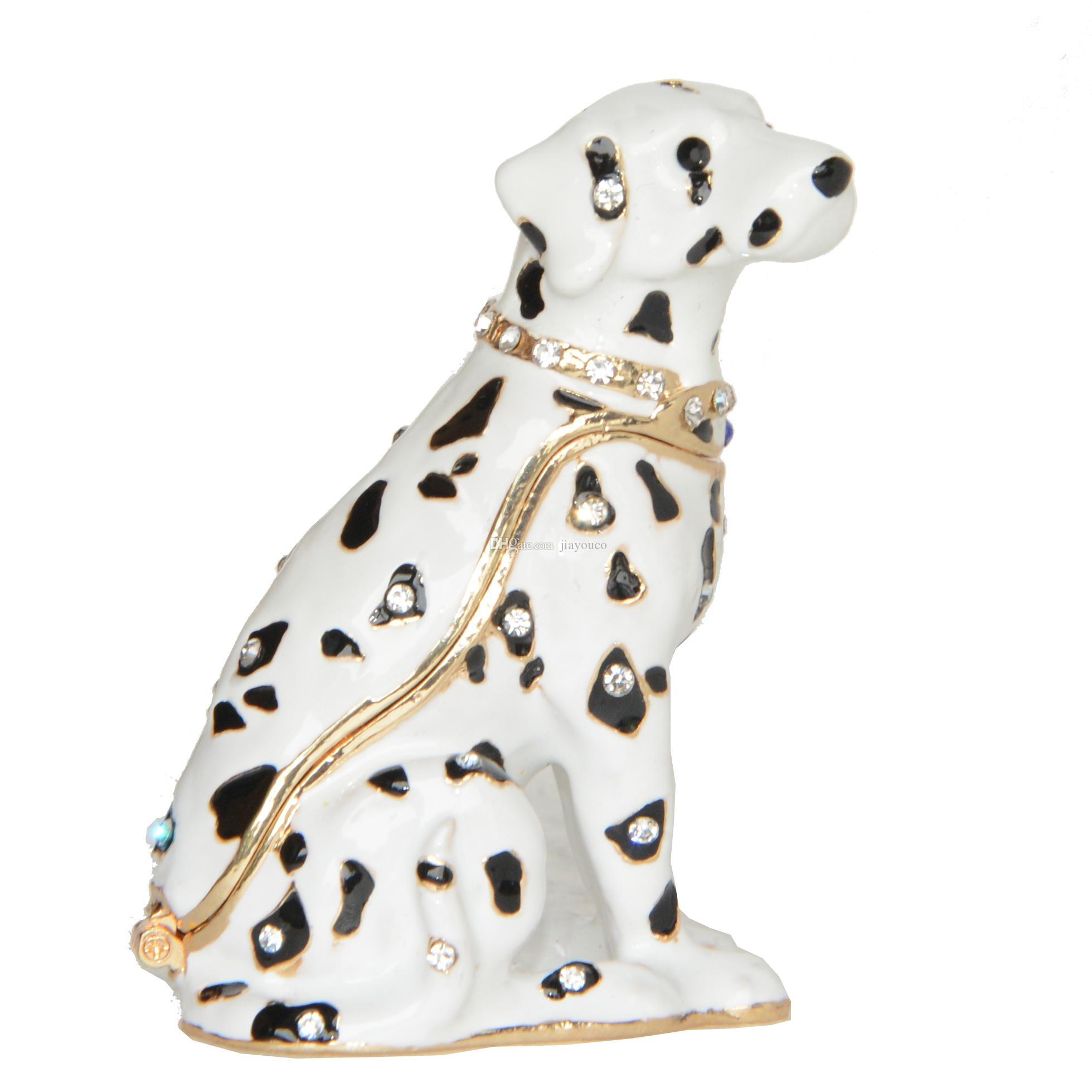 Bijou Dalmatien En émail Trinket Box Puppy Chien Figurine En Métal Décoration Cadeaux De Nouveauté