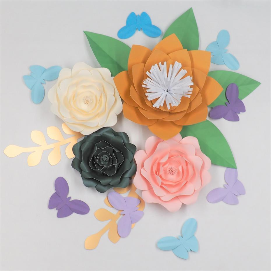 2018 half made large paper flowers kits with leaves butterflies 2018 half made large paper flowers kits with leaves butterflies wedding backdrop baby nursery rose artificielles pour le mariage from diyunicornflowers mightylinksfo
