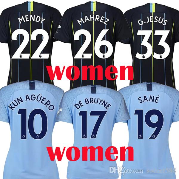 online retailer 1436c e0d42 18 19 KUN AGUERO STERLING MENDY CITY women soccer jersey 2018 2019 JESUS DE  BRUYNE SANE SILVA BERNARDO MAHREZ female football kit shirt
