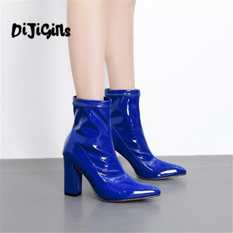 277d09d7181d Woman Shoes Patent Leather Ankle Boots Zipper Knights Boot Fashion Round  Toe Heels Short Boots Zapatos Mujer Black Blue Biker Boots Boots For Men  From ...