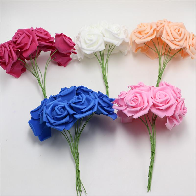Pink Artificial Foam Rose Flowers with Stem Home Bouquet Wedding ...