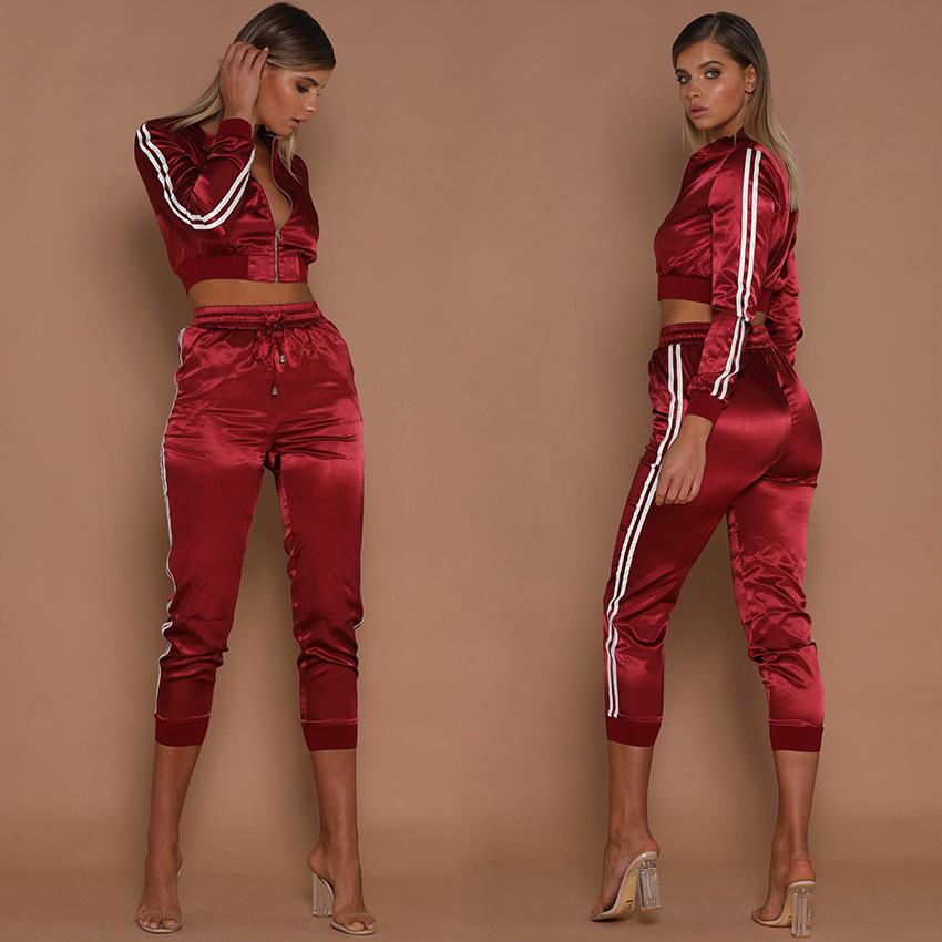 Women Tracksuits Spring Summer Sports Clothing Sets Short Stripes Sports Jackets Crop Pants Suits Slim Fits Casual Outfits