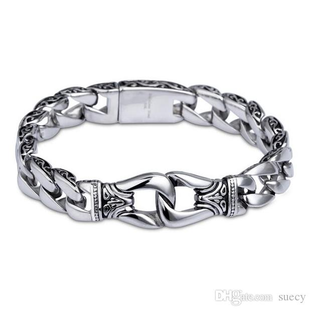Fashion New Stainless Steel Charm Bracelet Men Vintage Totem Mens Bracelets 2018 Cool Male Jewelry Wristband Jewellery