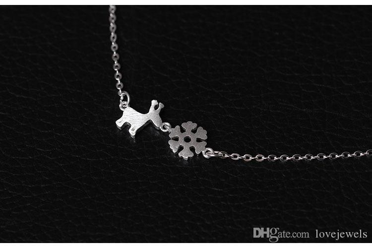 Charms 925 sterling silver pendant necklace Christmas Little Deer snow Necklace luxury chains Fashion sets jewelry valentines day gift women
