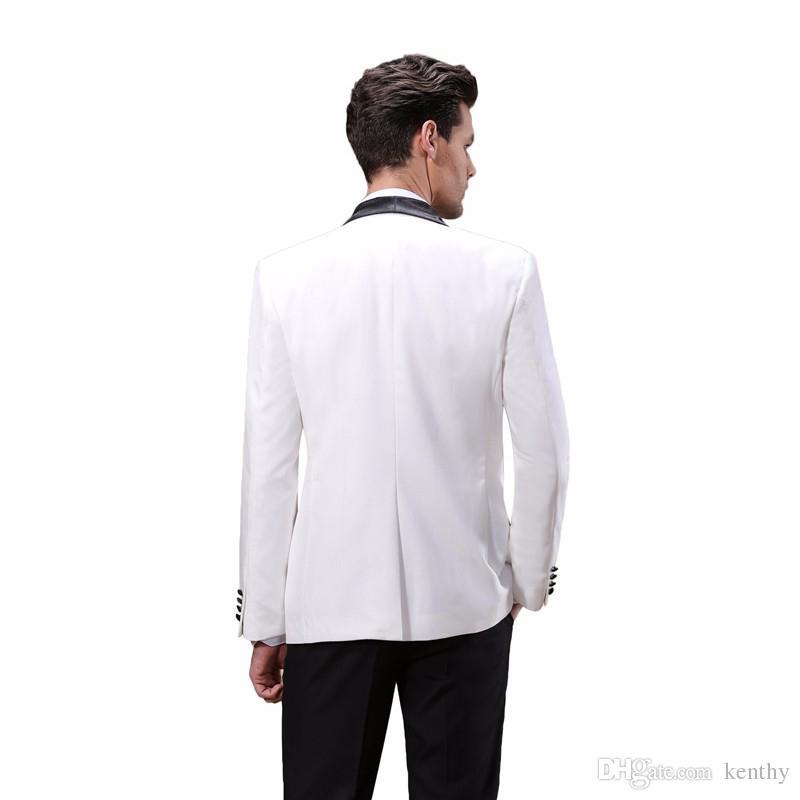 2018 فاخر رجل الدعاوى مخصص اللباس الرسمي شال التلبيب سليم صالح الدعاوى الزفاف العريس البدلات الرسمية wihte أفضل رجل سترة + بنطلون