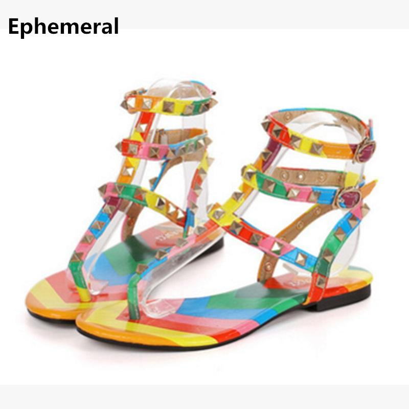 d3ac3ded2b8 Women Colorful Shoes With Buckle Flat Sandals Rivets Summer Sandalia  Feminina Open Toe Fashion Flats Super Larger Size 12 14 13 Wedding Sandals  Walking ...