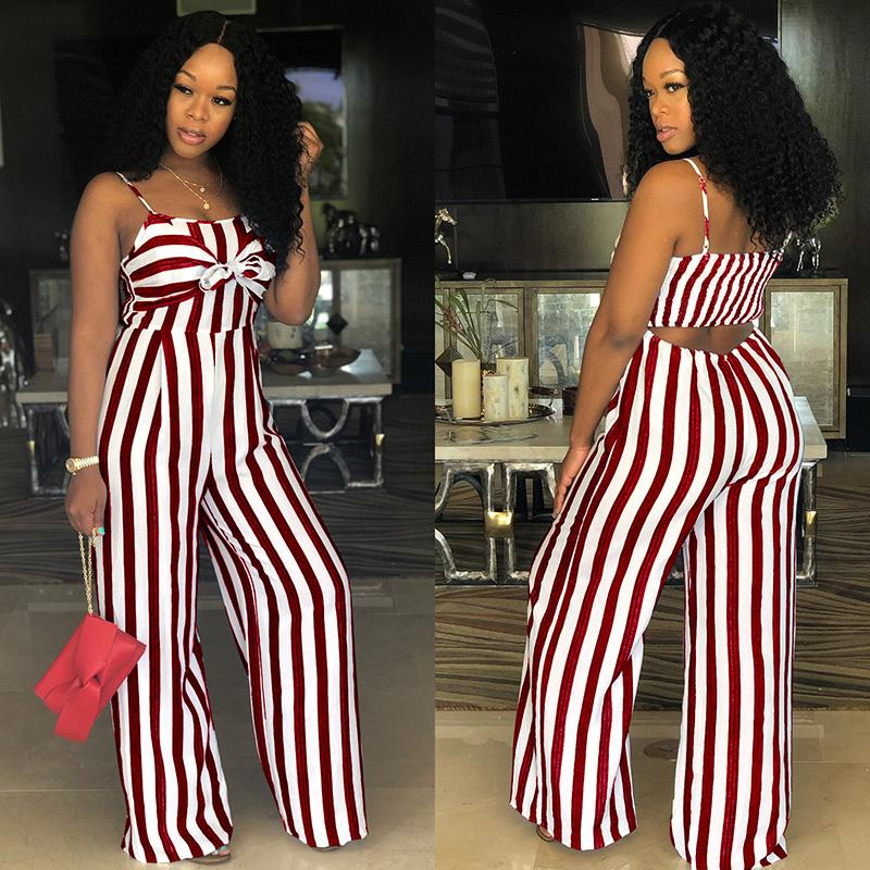 ee6f2ff02b2 2019 Sexy Suspender JUMPSUIT Wide Leg Casual Striped ROMPER Elegant WOMEN  Strap Overalls Tank Bow Tie Sleeveless High Waist Plus Size From Carawayo