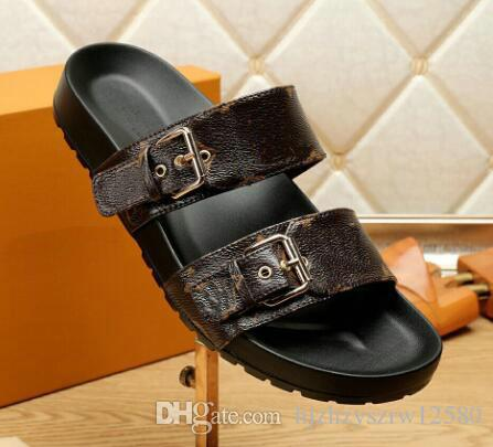2018 Mens Brand Fashion luxury retro real leather sandals causal Non-slip summer huaraches slippers flip flops slipper BEST QUALITY 38-44