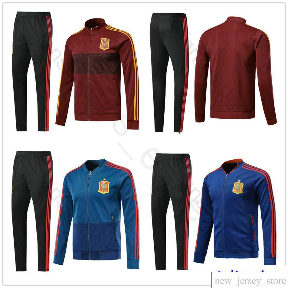 9b144460ccd 2018 World Cup Spain Football Jacket Long Soccer Training Suit Kit  Tracksuit Sportswear Chandal Set Custom Home Red ASENSIO ESPANA INIESTA  Spain Football ...