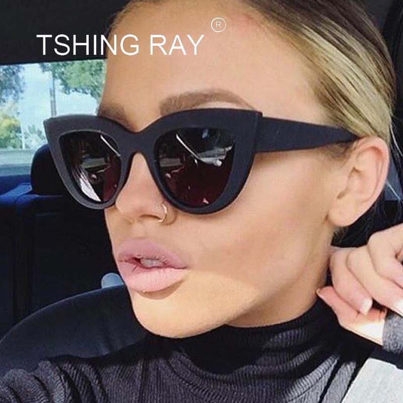 Compre TSHING RAY Retro Marco Grueso Ojo De Gato Gafas De Sol Mujer Damas  Diseñador De La Marca Diseñador Espejo Lente Cateye Gafas De Sol Para Mujer  ... 376fd097759a