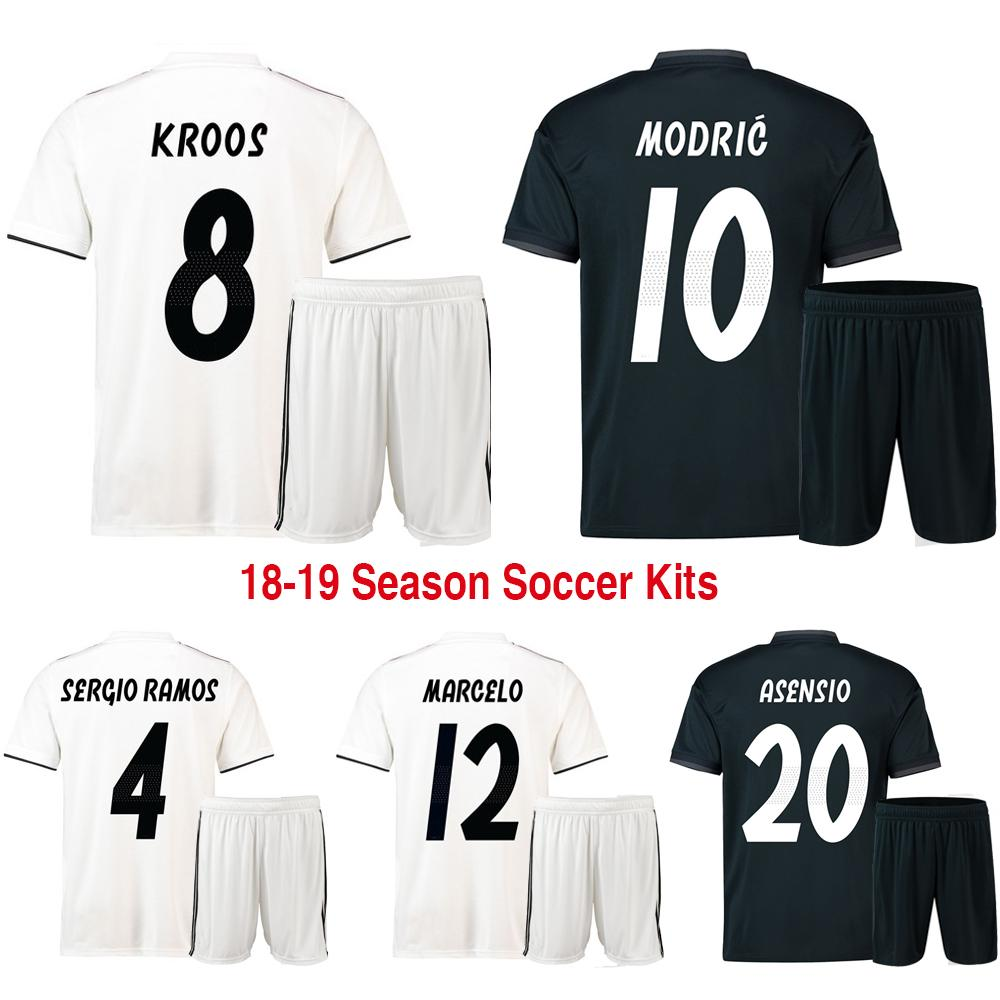 6562ab4b8 18 19 New Real Madrid Home Away Men Football Kit Soccer Sets of ...