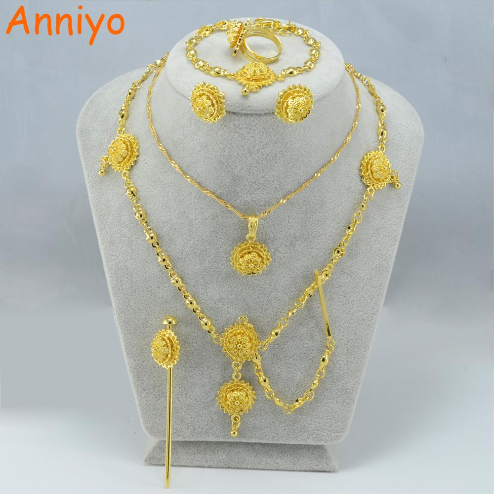 Anniyo Habesha Set Jewelry Girl Necklace/Hair pcs/Forehead/Earrings/Ring/Bracelet Gold Color Kids Ethiopian/Eritrean sets 000415