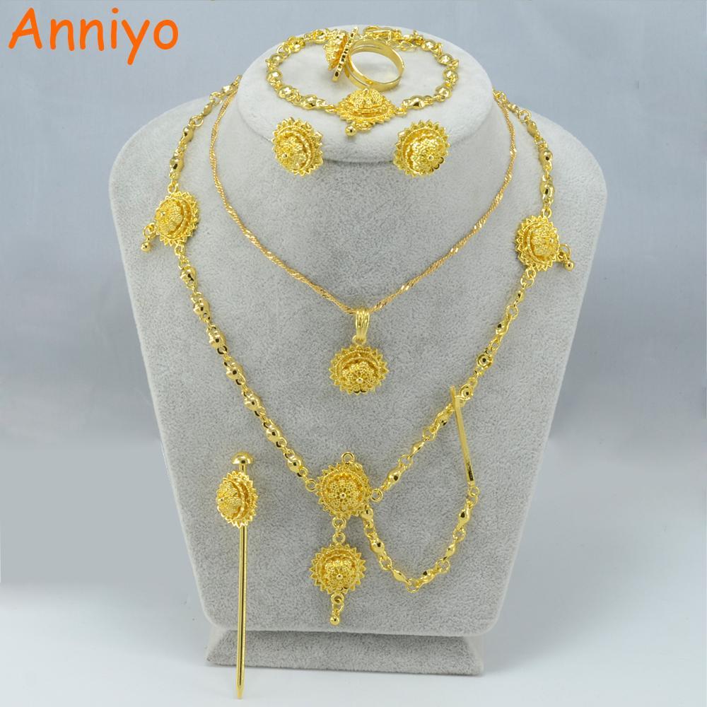 Anniyo Habesha Set Joyería Collar de niña / PC / Cabello / Frente / Pendientes / Anillo / Pulsera Color oro Niños Etíope / Eritrea establece 000415