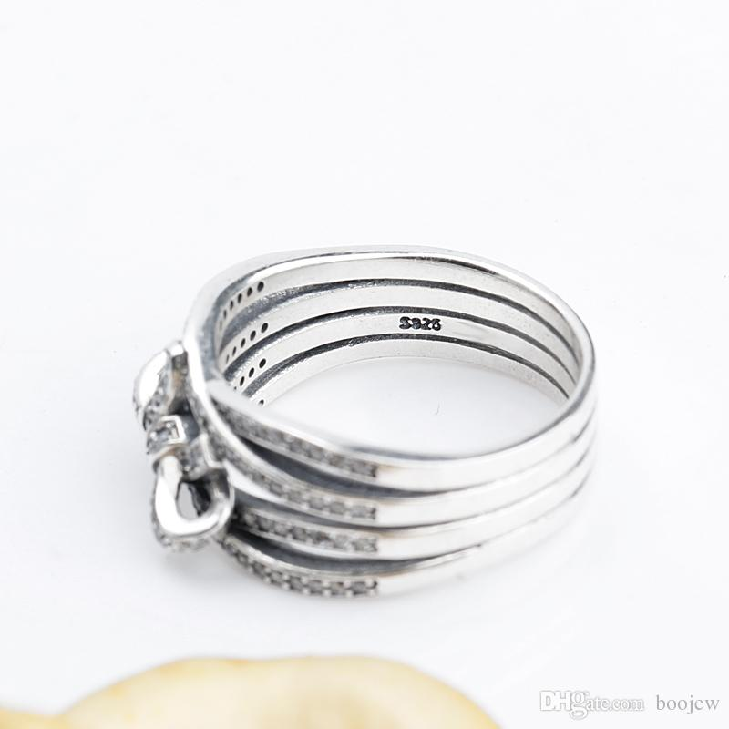 New Classic 100% 925 Sterling Silver Big Bow Knot Delicate Sentiments Ring Finger Ring For Women Wedding Fine Jewelry