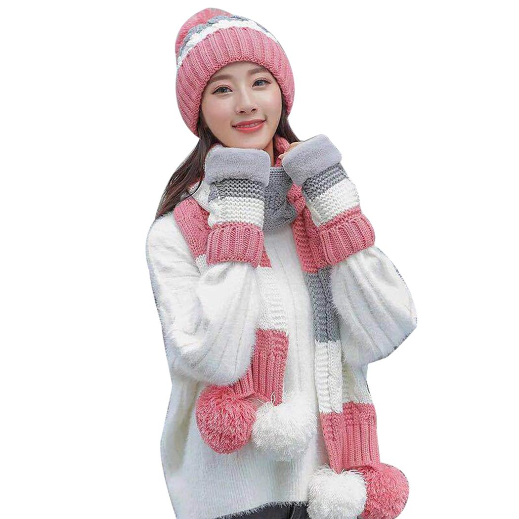 1ce8baf496d Winter Ladies Knitted Hat And Scarf Set Women Wooly Thick Warm Knitted  Woollen Caps Hairball Cute Girls Fashion Hats 2018 Trucker Caps Summer Hats  From ...