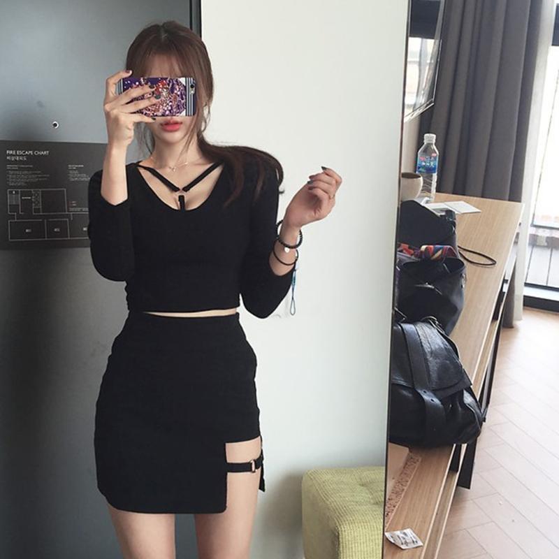5be7941dc3bd7d 2019 Korean Style Black Package Hip Saia Skirts Irregular Hem Pencil Micro  Mini Skirt From Edward03