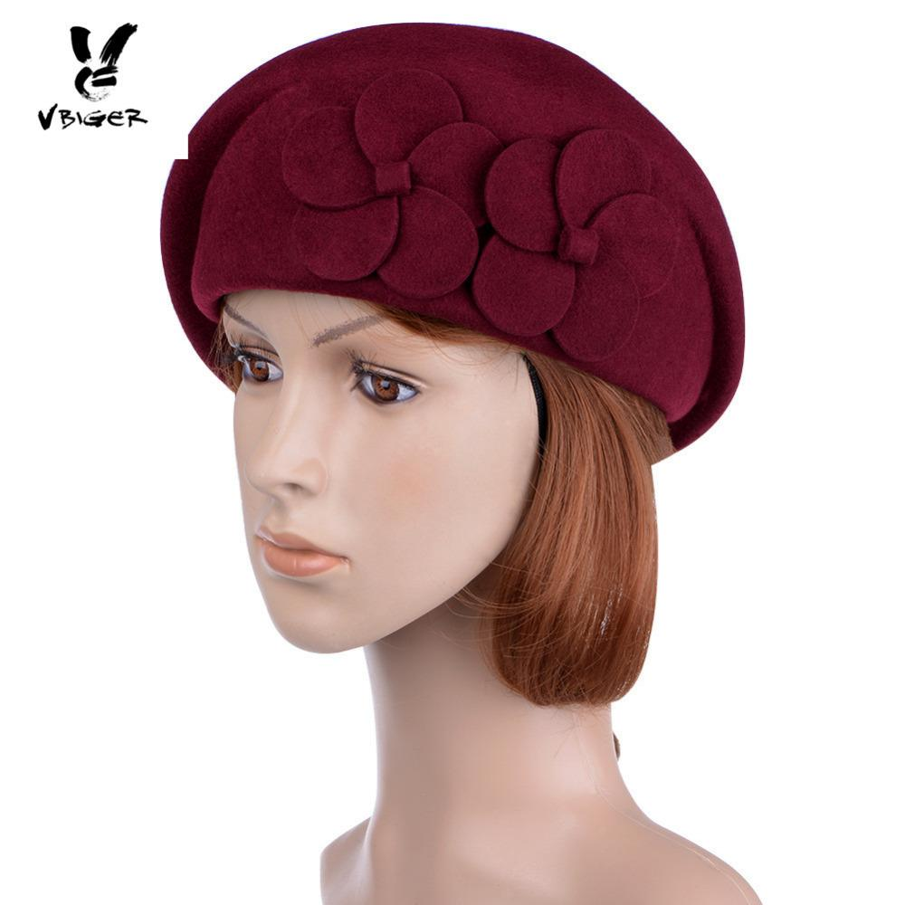 ae538054290 2019 VBIGER Women Sweet Elegant Floral Beret Female Beanie Cap Flower  French Trilby Wool Soft Stewardess Hat Foldable Billycock Hat From  Playnice