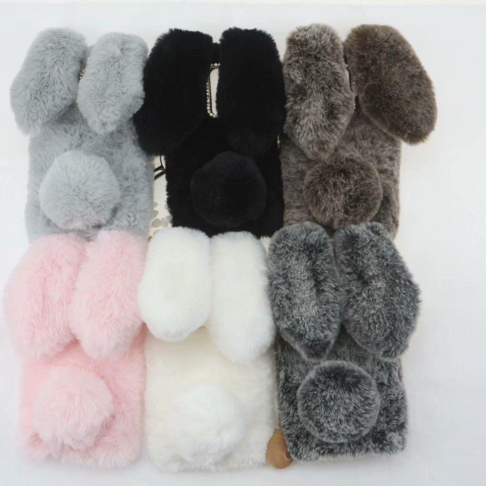 For Huawei Mate 10 Pro 9 Y9 2018 P Smart Enjoy 7 Plus V10 Rabbit Ear 3D Rabbit Hair Case Bling Diamond Fluffy Fur Cover Soft TPU Plush