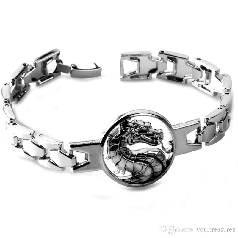Mortal Kombat Bracelet Bangle Cool Dragon Link Chain Punk Charm Bracelets Women Men Game Jewelry