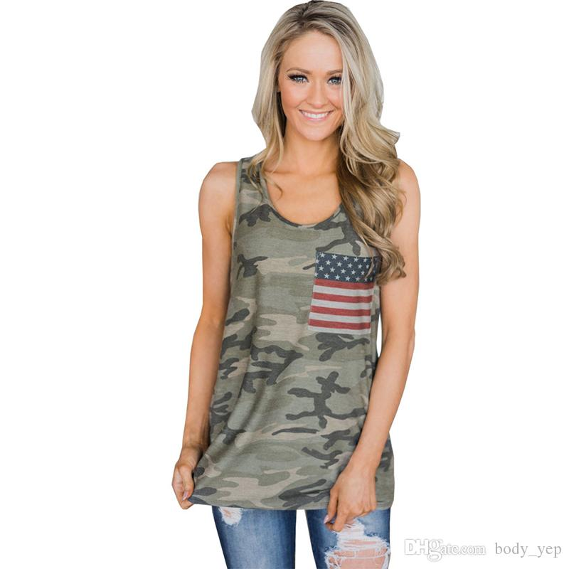 cd08dc84 2019 Women Tank Camis Summer Tops Camouflage US Flag Tanks Wild Round Neck  Sleeveless Female Blouses Streetwear Casual Vest From Body_yep, $7.0 |  DHgate.Com