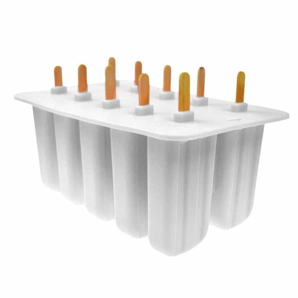 10 -Hole Silicone Ice Cream Mould Frozen Maker Tools Ice Cream Tray Molds Old Popsicle Silica Gel Ice Cream Mould 2 Colors