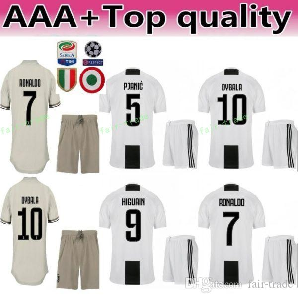 detailed look b6cee 7a112 18 19 Season Men FC 7 Ronaldo Soccer Jersey Juventus CRISTIANO Set 10 Paulo  Dybala 17 Mario Mandzukic Cristiano Football Shirt Kit White