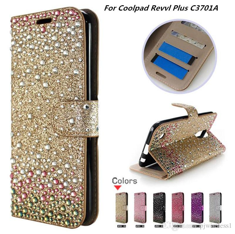 buy popular eecc1 f3c79 Wallet Diamond Case For Coolpad Revvl Plus C3701A Bling PU Leather Phone  Case Card Slot with opp bags C