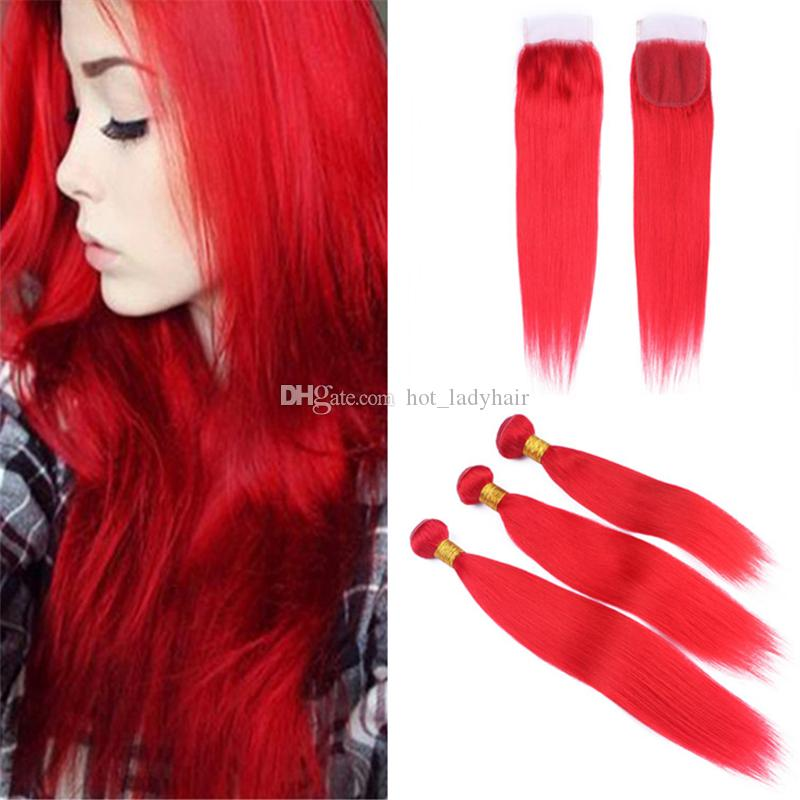 2018 Silky Straight Light Red Human Hair Weave Bundles With Lace