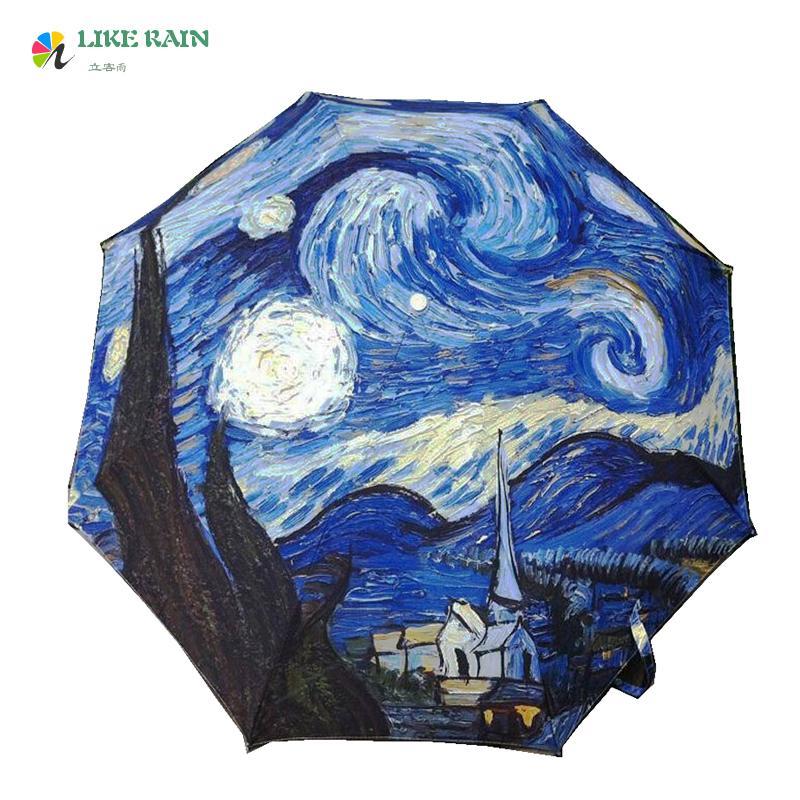 Satın Al Gibi Yağmur Boyama şemsiye 2017 Yeni Moda Monet Femme A L